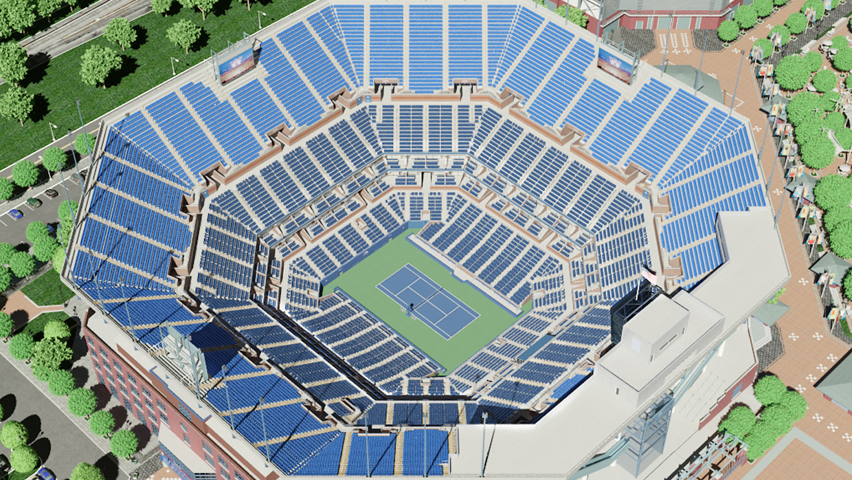 Arthur Ashe Virtual Venuea By Iomedia - Us-open-tennis-center-map